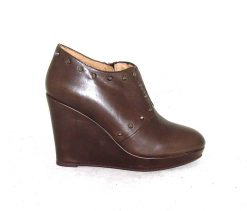 Pedro Anton taupe leather wedge ankle boot