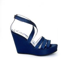Marco Moreo navy satin wedge