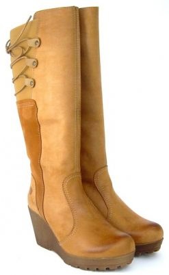 Yokono tan wedge full length boot