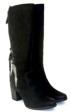 Yokono black boot with zip back