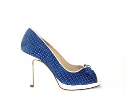 Marian navy & white dotty peeptoe