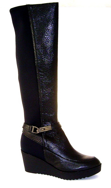 Pedro Anton black leather & stretch boot
