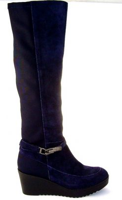 Pedro Anton navy suede & stretch boot