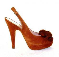 Gianna di Firenze tan suede peeptoe with rosette