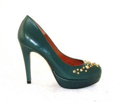 Marian green leather platform court
