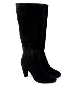 Carmens black suede mid heel boot