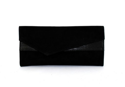 Marian black suede clutch bag
