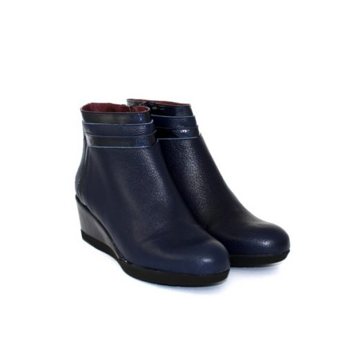 Pedro Anton wedge ankle boot in navy leather