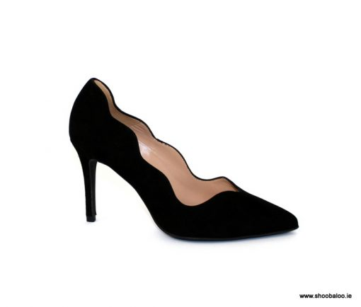 Marian black suede scalloped court shoe