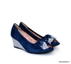 Le Babe navy peeptoe wedge