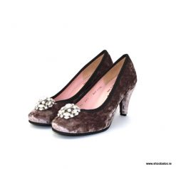 Le Babe grey velvet court shoe