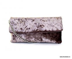 Le Babe grey velvet clutch bag