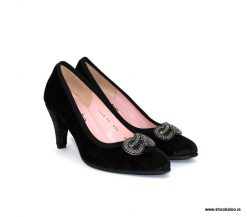 Le Babe black velvet court shoe