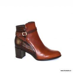 Zeeb mid heel ankle boot in tan