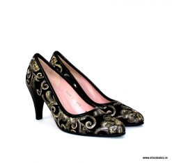 Le Babe black and gold brocade court shoe