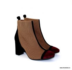 Marian taupe and wine stretch boot
