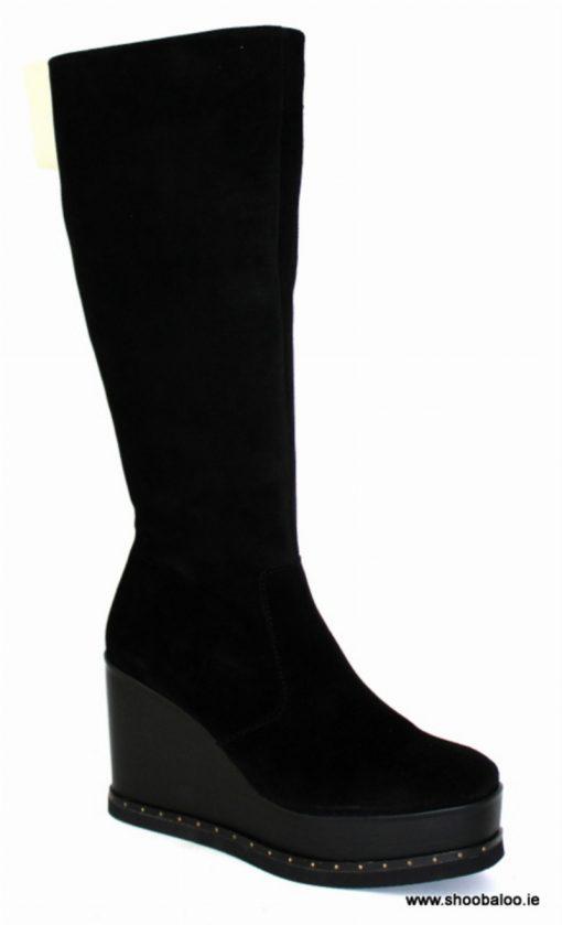 Pedro Anton full length boot in black suede