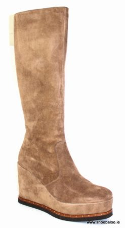 Pedro Anton full length boot in taupe suede