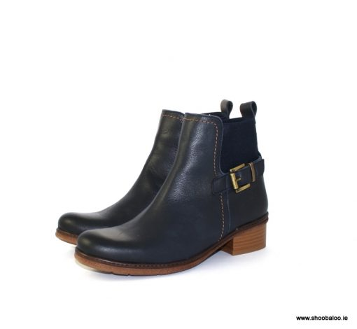 Yokono navy biker boot with stretch