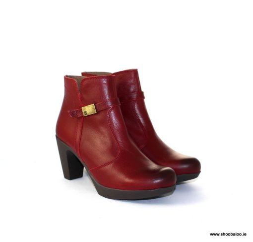 Yokono mid heel burgundy ankle boot