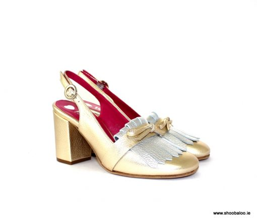 Le Babe gold and silver slingback