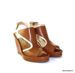 Marco Moreo tan & gold wedge sandal