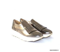 Geox Gendry wedge loafer in platino