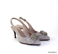 Marian grey suede low slingback
