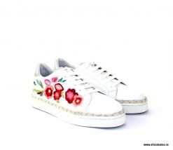 Altraofficina white lace up sneaker with flowers