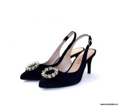 Marian navy low slingback
