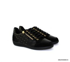 Geox Myria black and gold low trainer