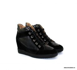 Geox Carum wedge trainer in black