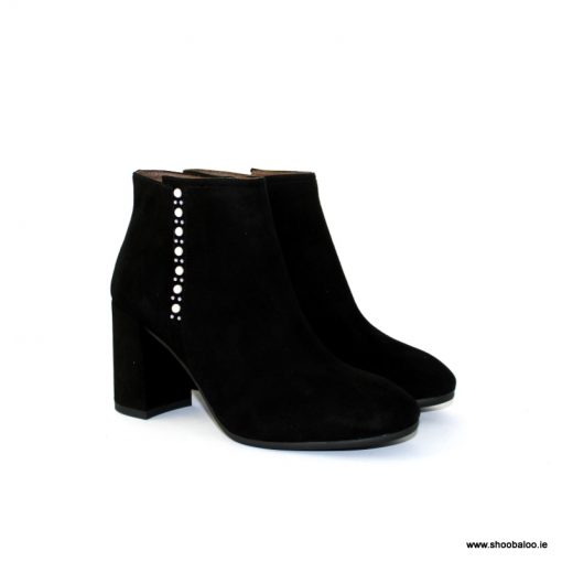 Nero Giardini black suede ankle boot with pearl