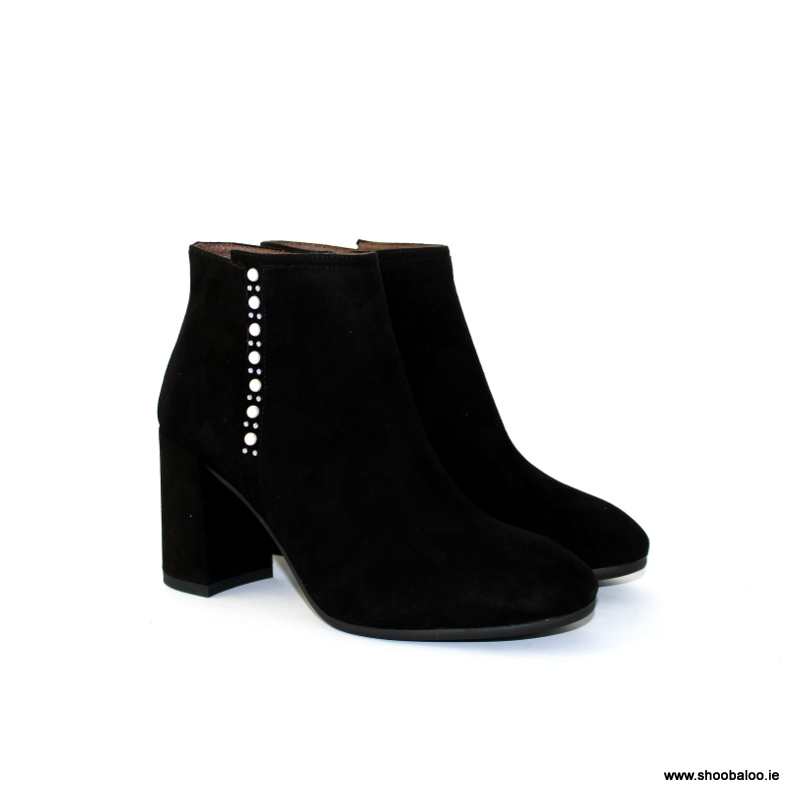 80ce39a1177df Nero Giardini black suede ankle boot with pearl - shoobaloo