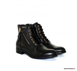 Nero Giardini black and gold zip flat boot NEW