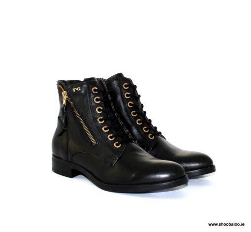 Nero Giardini black and gold zip flat boot NEW