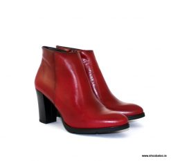Zeeb by Barminton Red Leather Ankle Boot