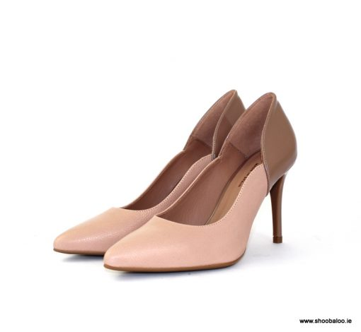 Marian nude and patent court shoe