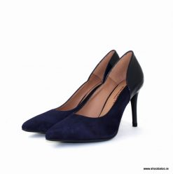 Marian navy suede and patent court shoe