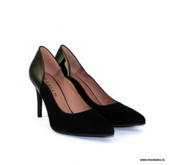 Marian black suede and patent court