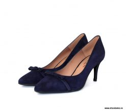 Marian kitten heel court in navy suede