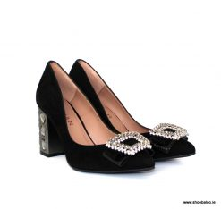 Marian black jewel heel court