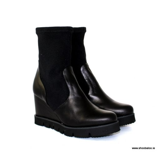 Pedro Anton wedge ankle boot in black with stretch