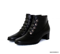 Scolaro black ankle boot with buttons
