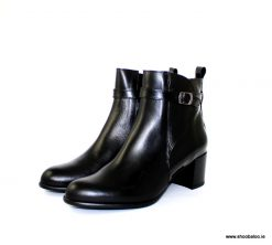 Zeeb by Barminton black leather and patent ankle boot